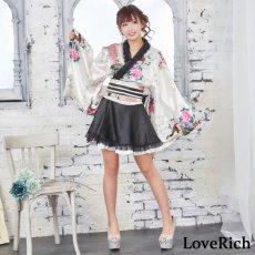 画像9: サテン和柄フリル花魁ミニ着物ドレス 和柄 よさこい 花魁 コスプレ キャバドレス (9)
