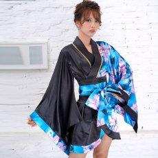 画像13: ツートンカラー花柄着物ドレス 和柄 衣装 ダンス よさこい 花魁 コスプレ キャバドレス (13)