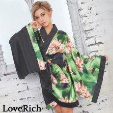 画像1: ツートンカラー花柄着物ドレス 和柄 衣装 ダンス よさこい 花魁 コスプレ キャバドレス (1)