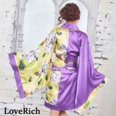 画像11: ツートンカラー花柄着物ドレス 和柄 衣装 ダンス よさこい 花魁 コスプレ キャバドレス (11)