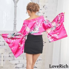 画像7: リボン付きサテン孔雀柄&ストレッチギャザーミニ花魁着物ドレス (7)