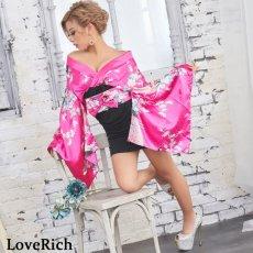 画像2: リボン付きサテン孔雀柄&ストレッチギャザーミニ花魁着物ドレス (2)