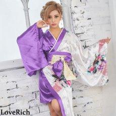 画像2: ツートンカラー孔雀柄着物ドレス 和柄 衣装 ダンス よさこい 花魁 コスプレ キャバドレス (2)