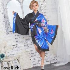画像3: ツートンカラー孔雀柄着物ドレス 和柄 衣装 ダンス よさこい 花魁 コスプレ キャバドレス (3)