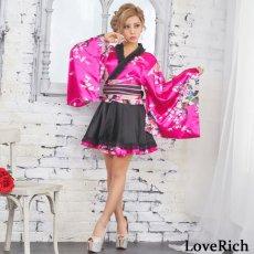 画像2: サテン和柄フリル花魁ミニ着物ドレス 和柄 よさこい 花魁 コスプレ キャバドレス (2)