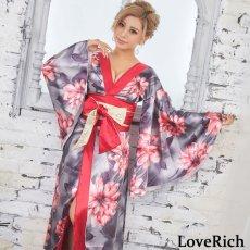 画像2: サテン花柄ロング着物ドレス 衣装 ダンス よさこい 花魁 コスプレ キャバドレス (2)