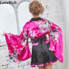 画像4: サテン和柄フリル花魁ミニ着物ドレス 和柄 よさこい 花魁 コスプレ キャバドレス (4)