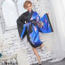 画像4: ツートンカラー孔雀柄着物ドレス 和柄 衣装 ダンス よさこい 花魁 コスプレ キャバドレス (4)