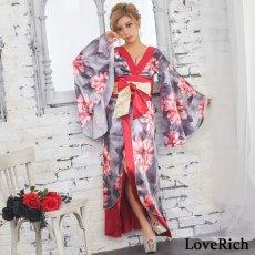 画像5: サテン花柄ロング着物ドレス 衣装 ダンス よさこい 花魁 コスプレ キャバドレス (5)
