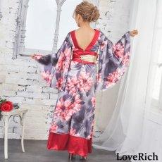 画像13: サテン花柄ロング着物ドレス 衣装 ダンス よさこい 花魁 コスプレ キャバドレス (13)