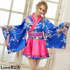 画像7: サテン和柄フリル花魁ミニ着物ドレス 和柄 よさこい 花魁 コスプレ キャバドレス (7)
