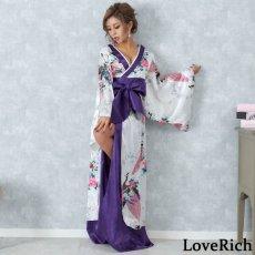 画像2: 孔雀和柄ロング着物ドレス 和柄 よさこい 花魁 コスプレ キャバドレス (2)