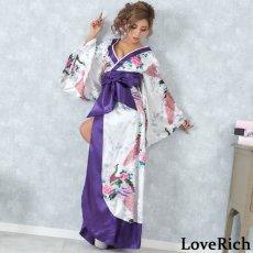 画像4: 孔雀和柄ロング着物ドレス 和柄 よさこい 花魁 コスプレ キャバドレス (4)
