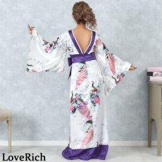 画像11: 孔雀和柄ロング着物ドレス 和柄 よさこい 花魁 コスプレ キャバドレス (11)