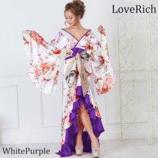 画像8: 【再入荷】サテン和柄フリルロング着物ドレス 衣装 ダンス よさこい 花魁 コスプレ キャバドレス (8)