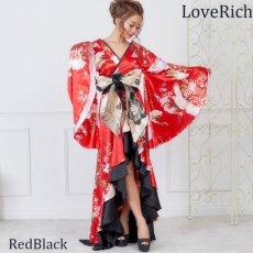 画像9: 【再入荷】サテン和柄フリルロング着物ドレス 衣装 ダンス よさこい 花魁 コスプレ キャバドレス (9)