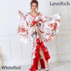 画像7: 【再入荷】サテン和柄フリルロング着物ドレス 衣装 ダンス よさこい 花魁 コスプレ キャバドレス (7)
