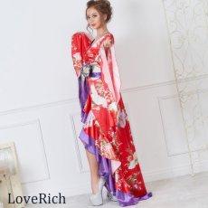 画像11: 【再入荷】サテン和柄フリルロング着物ドレス 衣装 ダンス よさこい 花魁 コスプレ キャバドレス (11)