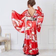 画像10: 【再入荷】サテン和柄フリルロング着物ドレス 衣装 ダンス よさこい 花魁 コスプレ キャバドレス (10)