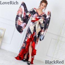 画像4: 【再入荷】サテン和柄フリルロング着物ドレス 衣装 ダンス よさこい 花魁 コスプレ キャバドレス (4)