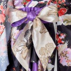 画像12: 【再入荷】サテン和柄フリルロング着物ドレス 衣装 ダンス よさこい 花魁 コスプレ キャバドレス (12)