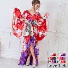 画像3: 【再入荷】サテン和柄フリルロング着物ドレス 衣装 ダンス よさこい 花魁 コスプレ キャバドレス (3)
