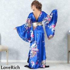 画像9: サテン和柄フリルロング着物ドレス 衣装 ダンス よさこい 花魁 コスプレ キャバドレス (9)