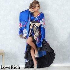 画像4: サテン和柄フリルロング着物ドレス 衣装 ダンス よさこい 花魁 コスプレ キャバドレス (4)