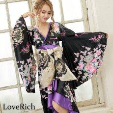 画像7: サテン和柄フリルロング着物ドレス 衣装 ダンス よさこい 花魁 コスプレ キャバドレス (7)