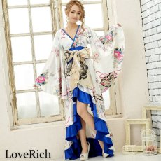 画像6: サテン和柄フリルロング着物ドレス 衣装 ダンス よさこい 花魁 コスプレ キャバドレス (6)