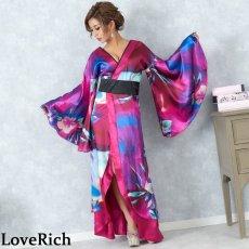 画像5: グラデーションロング着物ドレス 和柄 よさこい 花魁 コスプレ キャバドレス (5)