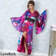 画像4: グラデーションロング着物ドレス 和柄 よさこい 花魁 コスプレ キャバドレス (4)