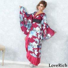 画像2: フラワーロング着物ドレス 和柄 よさこい 花魁 コスプレ キャバドレス (2)