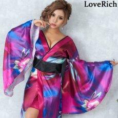 画像6: グラデーションロング着物ドレス 和柄 よさこい 花魁 コスプレ キャバドレス (6)