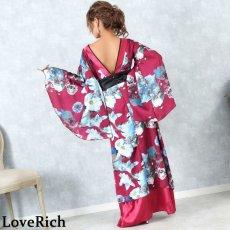 画像13: フラワーロング着物ドレス 和柄 よさこい 花魁 コスプレ キャバドレス (13)