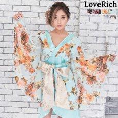 画像1: 花柄 シフォン 豪華帯 着物ドレス キャバドレス (1)