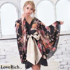 画像2: 花柄 シフォン 豪華帯 着物ドレス キャバドレス (2)