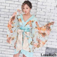 画像9: 花柄 シフォン 豪華帯 着物ドレス キャバドレス (9)