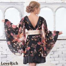 画像12: 花柄 シフォン 豪華帯 着物ドレス キャバドレス (12)
