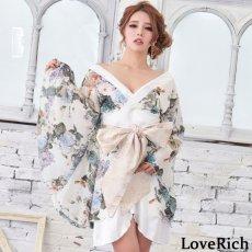 画像5: 花柄 シフォン 豪華帯 着物ドレス キャバドレス (5)