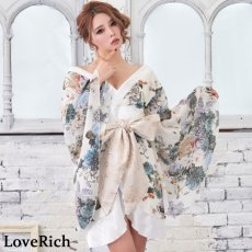 画像6: 花柄 シフォン 豪華帯 着物ドレス キャバドレス (6)