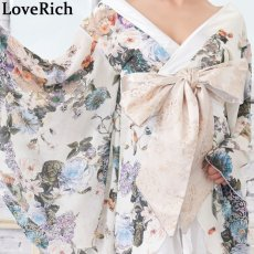 画像11: 花柄 シフォン 豪華帯 着物ドレス キャバドレス (11)