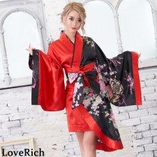 画像9: ツートンカラー孔雀柄着物ドレス 和柄 衣装 ダンス よさこい 花魁 コスプレ キャバドレス (9)