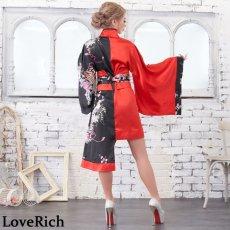 画像13: ツートンカラー孔雀柄着物ドレス 和柄 衣装 ダンス よさこい 花魁 コスプレ キャバドレス (13)