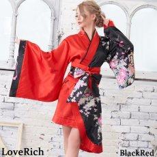 画像10: ツートンカラー孔雀柄着物ドレス 和柄 衣装 ダンス よさこい 花魁 コスプレ キャバドレス (10)