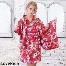 画像5: サテン花柄花魁ミニ着物ドレス 和柄 よさこい 花魁 コスプレ キャバドレス (5)