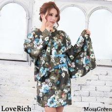 画像3: サテン花柄花魁ミニ着物ドレス 和柄 よさこい 花魁 コスプレ キャバドレス (3)