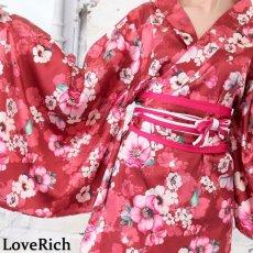 画像15: サテン花柄花魁ミニ着物ドレス 和柄 よさこい 花魁 コスプレ キャバドレス (15)