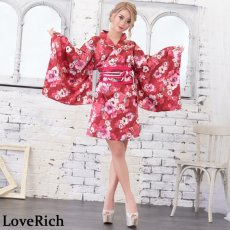 画像7: サテン花柄花魁ミニ着物ドレス 和柄 よさこい 花魁 コスプレ キャバドレス (7)