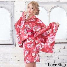 画像8: サテン花柄花魁ミニ着物ドレス 和柄 よさこい 花魁 コスプレ キャバドレス (8)